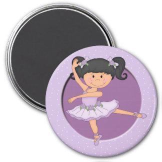 Niedlicher lila individueller Name der Ballerina-1 Runder Magnet 7,6 Cm