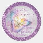 Niedlicher lila Schmetterling danken Ihnen Runder Aufkleber