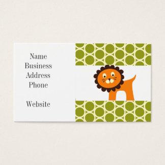 Niedlicher Löwe auf grünen Muster-Geschenken für Visitenkarten