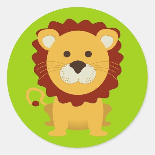 Niedlicher Löwe Runder Aufkleber