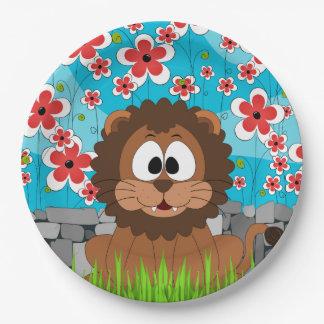 Niedlicher Löwe im Frühling Pappteller