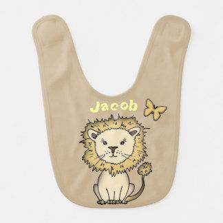 Niedlicher Löwe-personalisierter Baby-Schellfisch Lätzchen