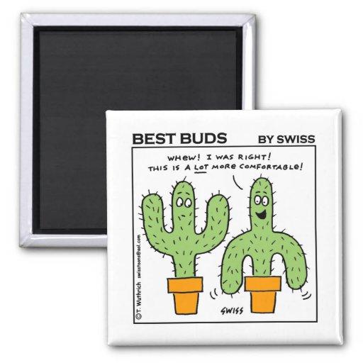 Niedlicher lustiger Kaktus-bester Knospen-Cartoon Quadratischer Magnet
