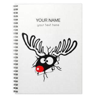 Niedlicher lustiger Rudolph der rote gerochene Spiral Notizblock