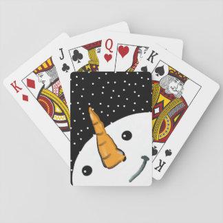 Niedlicher lustiger Snowman-lächelndes Spielkarten