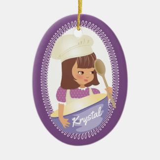 Niedlicher Mädchen-Koch kulinarische Keramik Ornament