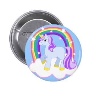 Niedlicher magischer Unicorn mit dem Regenbogen (k Runder Button 5,7 Cm