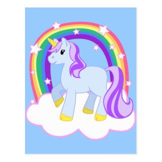 Niedlicher magischer Unicorn mit dem Regenbogen Postkarte
