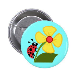 Niedlicher Marienkäfer auf einer gelben Blume Runder Button 5,1 Cm