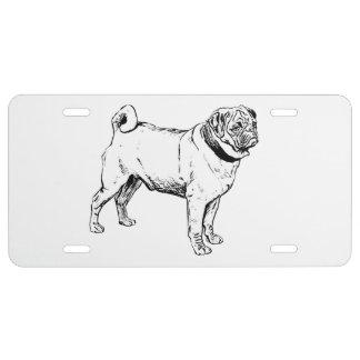 Niedlicher Mops-elegantes Hundezeichnen US Nummernschild
