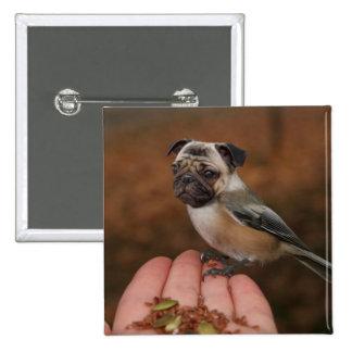 Niedlicher Mops-Vogel-Quadrat-Knopf Quadratischer Button 5,1 Cm