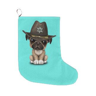 Niedlicher Mops-Welpen-Hundesheriff Großer Weihnachtsstrumpf