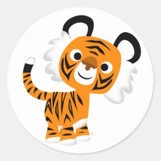 Niedlicher neugieriger Cartoon-Tiger-Aufkleber Runder Aufkleber