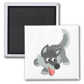 Niedlicher neugieriger Cartoon-Wolf-Magnet Quadratischer Magnet