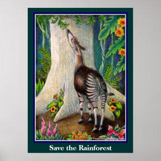 Niedlicher Okapi retten den Regenwald Poster