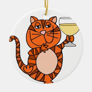 Niedlicher orange Tabby-Katzen-trinkender Rundes Keramik Ornament