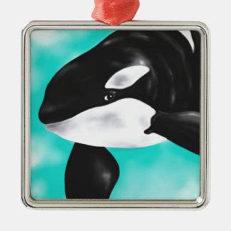 Niedlicher Orca-Wal Silbernes Ornament