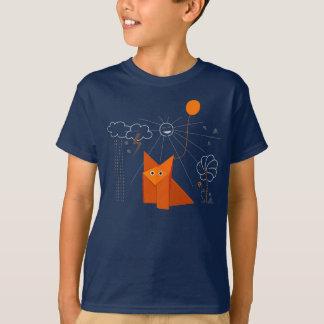 Niedlicher Origami Fox ist glückliche dunkle T-Shirt