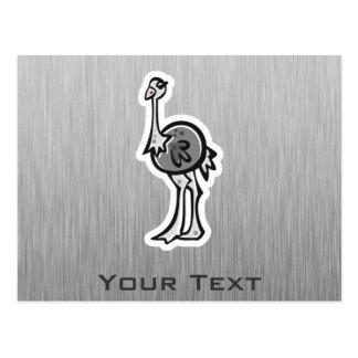 Niedlicher Ostrich; Metall-Blick Postkarte
