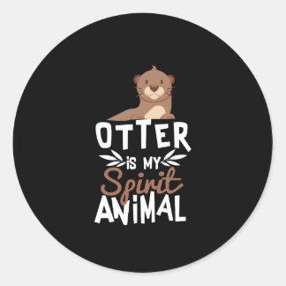 Niedlicher Otter ist mein Geist-Tierdruck Runder Aufkleber