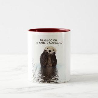 Niedlicher Otter mit lustigem Wortspiel Zweifarbige Tasse