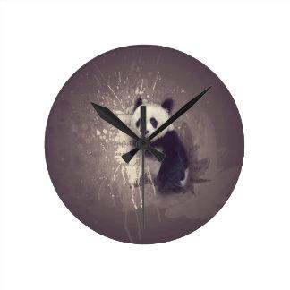 Niedlicher Panda abstrakt Runde Wanduhr