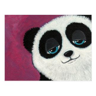 Niedlicher Panda auf rosa Postkarte