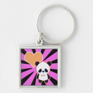 Niedlicher Panda auf rosa Sternexplosion Schlüsselanhänger