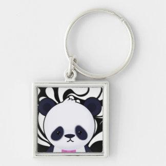 Niedlicher Panda auf Schwarzweiss-Wirbel Schlüsselbänder
