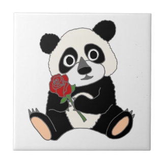Niedlicher Panda-Bär, der Rote Rose hält Fliese