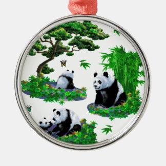 niedlicher Panda Cartoon Rundes Silberfarbenes Ornament