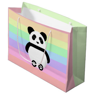Niedlicher Panda, der mit Pastellstreifen zeichnet Große Geschenktüte