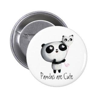 Niedlicher Panda mit Ballon Runder Button 5,7 Cm
