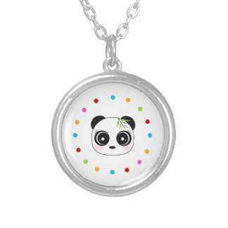 Niedlicher Panda, Polkapunktkreis Versilberte Kette