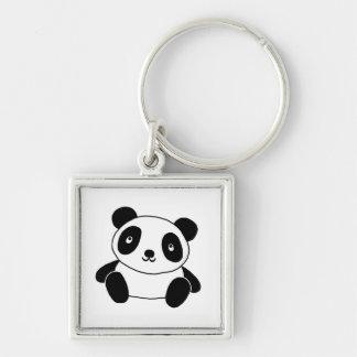 Niedlicher Panda Silberfarbener Quadratischer Schlüsselanhänger