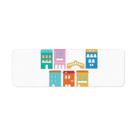 Niedlicher Papieraufkleber mit Entwurf Häusern Rücksendeetiketten