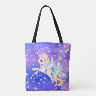 Niedlicher Pastellgalaxie Unicorn Tasche