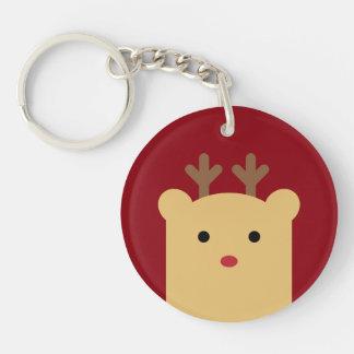 Niedlicher Peekaboo-Ren-Feiertag Keychain Einseitiger Runder Acryl Schlüsselanhänger