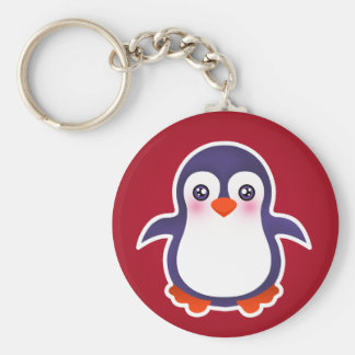 Niedlicher Penguin auf roter Schlüsselanhänger