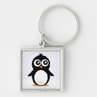 Niedlicher Penguin-Cartoon Silberfarbener Quadratischer Schlüsselanhänger