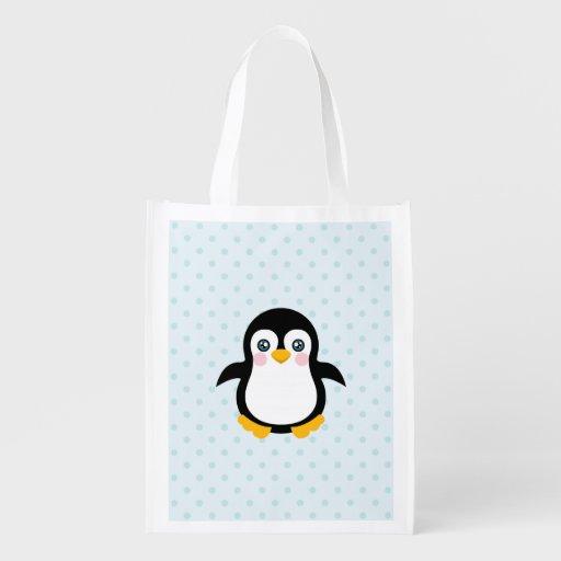 Niedlicher Penguin-Entwurfs-blauer Tragetaschen