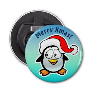 Niedlicher Penguin mit Weihnachtshut-Cartoon Runder Flaschenöffner