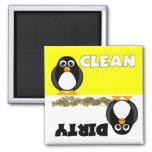 Niedlicher Penguin-sauberer/schmutziger Spülmaschi Kühlschrankmagnete
