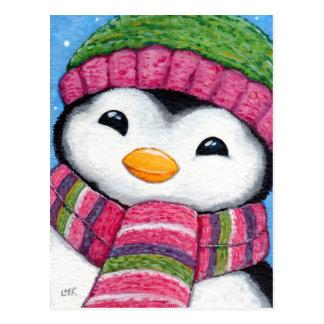 Niedlicher Penguin-tragender Hut und Postkarte