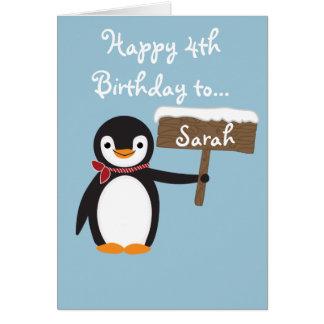 Niedlicher Penguin-tragender Schal-Entwurf Karte