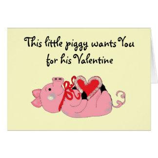 Niedlicher Piggy Valentine Karte