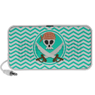 Niedlicher Pirat Aqua-grünes Zickzack iPod Lautsprecher