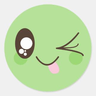Niedlicher Pistazien-Grün Kawaii Smiley Runder Aufkleber