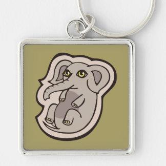 Niedlicher Playful grauer Baby-Elefant, der Schlüsselanhänger