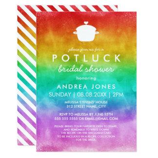 Niedlicher Potluck lesbischer Regenbogen Ombre 12,7 X 17,8 Cm Einladungskarte